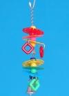 K1804 - Barevný řetěz s plastovými disky, kuličkami a zvonečkem